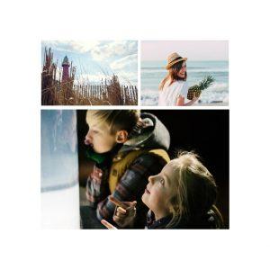"3 Photo Collage 8x8"" Slim Photo Canvas Print, Home Décor White"