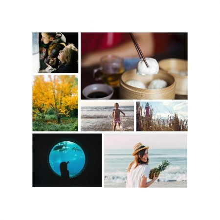 "7 Photo Collage 8x8"" Slim Photo Canvas Print, Home Décor White"