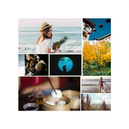 "8 Photo Collage 8x8"" Slim Photo Canvas Print, Home Décor White"