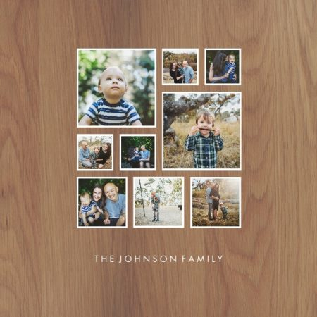 "Family Collage 8x8"" Slim Photo Canvas Print, Home Décor Brown"
