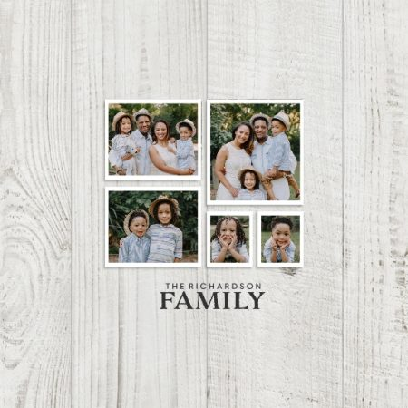 "Family Wood Collage 8x8"" Slim Photo Canvas Print, Home Décor Gray"