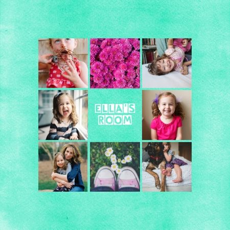 "Kids Collage 8x8"" Slim Photo Canvas Print, Home Décor Green"
