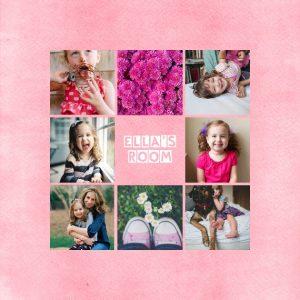 "Kids Collage 8x8"" Slim Photo Canvas Print, Home Décor Pink"
