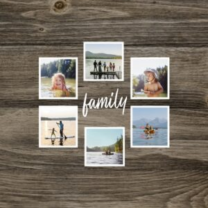 "Wooden Family Photos 8x8"" Slim Photo Canvas Print, Home Décor Brown"