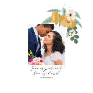 "Folky Floral Wedding 8x8"" Slim Canvas Print, Home Décor White"