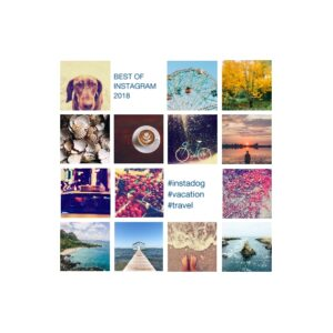 "Instagram Collage 8x8"" Slim Canvas Print, Home Décor White"